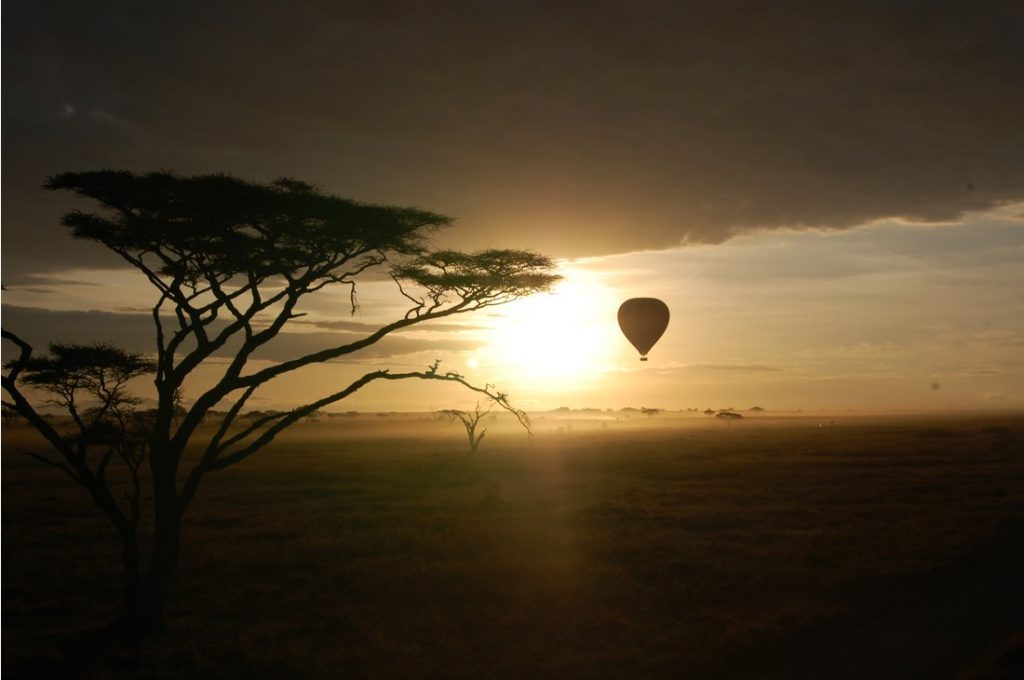 Hot air balloon ride in the Serengeti.